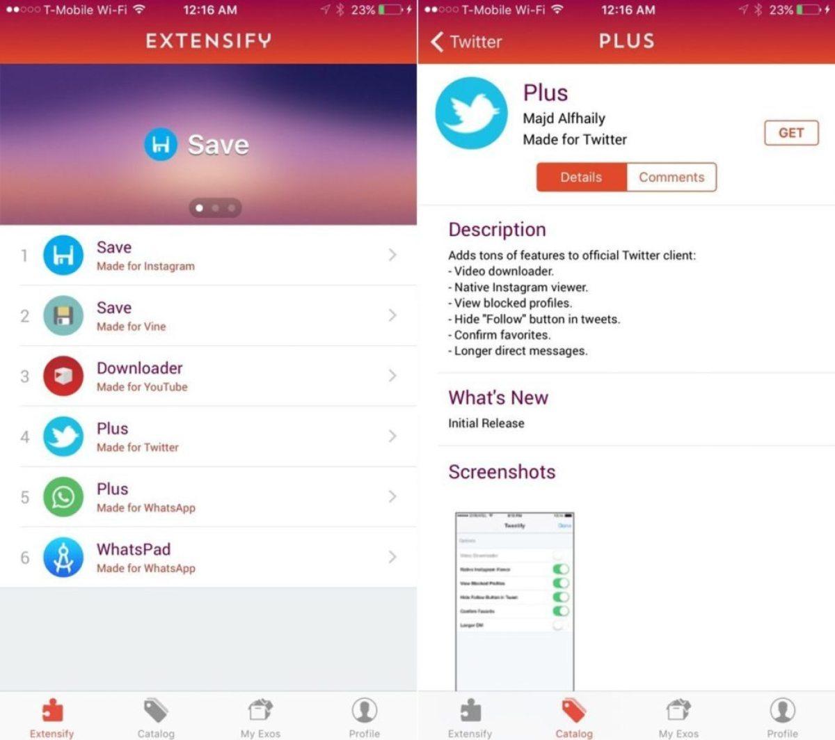 Extensify - Tweaks para iPhone sin Jailbreak