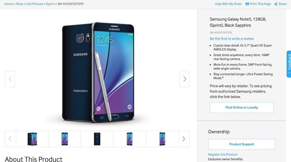 Galaxy Note 5 de 128GB para Sprint