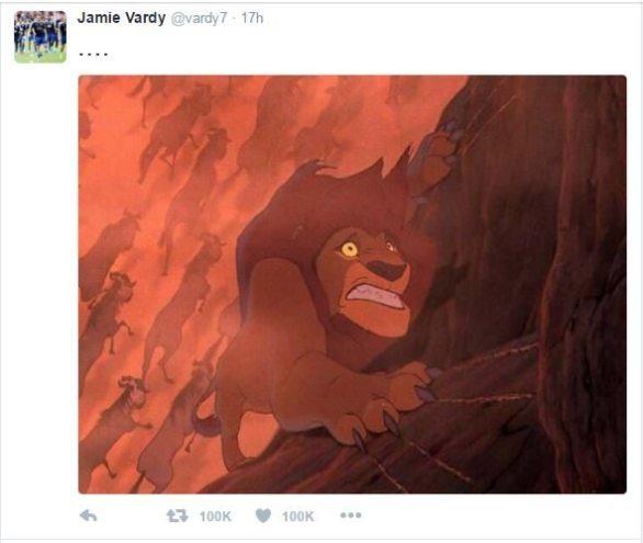 Screen Grab de la respuesta de Jamie Vardy a través de Twitter