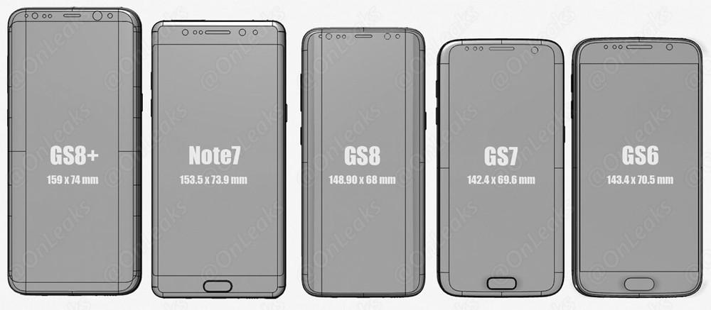Comparativa tamaños Galaxy S8