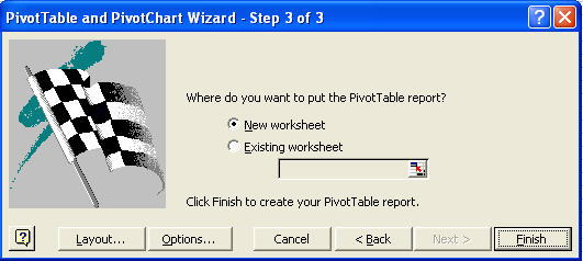 pivot table in new or existing worksheet