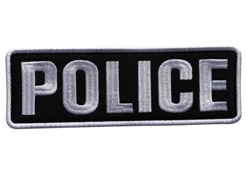 Embroidery Cloth Fabric Police Vest Patch Black and White for Military Police Tactical Vest Jacket Plate Carrier Back Panel