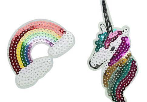 Cute fashion rainbow unicorn sequin embroidery patch for garment