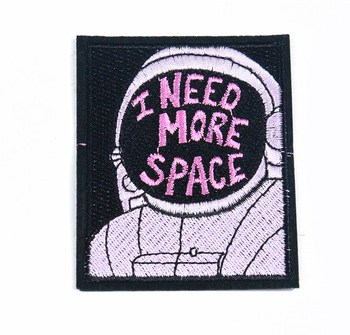 customize space astronaut's with I need more space logo rectangular badge embroidery patch