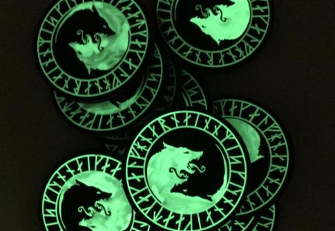 Custom Rubber Wolf Badge Grow In Dark Spinning PVC Logo Patch With Hook And Loop
