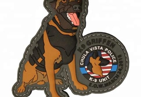 Custom 3D Carton Animal Logo Police Dog Soft Rubber PVC patch