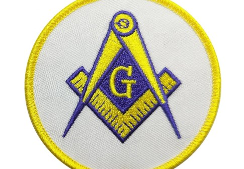 Professional adhesive pocket embroidery woven custom soccer club sport logo patch Masonic Embroidery Patch