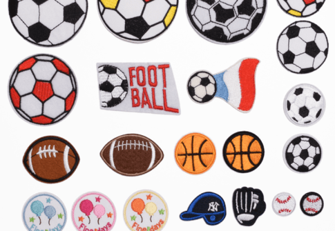 Custom  New Styles Fashion Carton Volleyball Baseball Football Basketball Embroidery Patches For Clothing