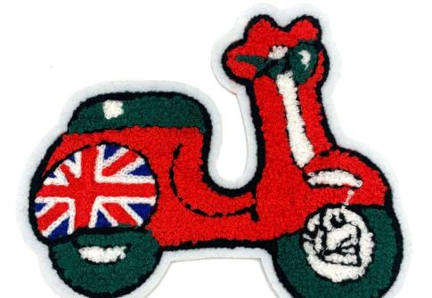 Factory direct sale custom motorcycle cartoon chenille embroidery patches for clothing