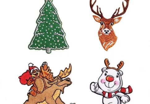 Cheap Custom Embroidery Patches Ironing Badges Christmas Tree Patches For Christmas Gift