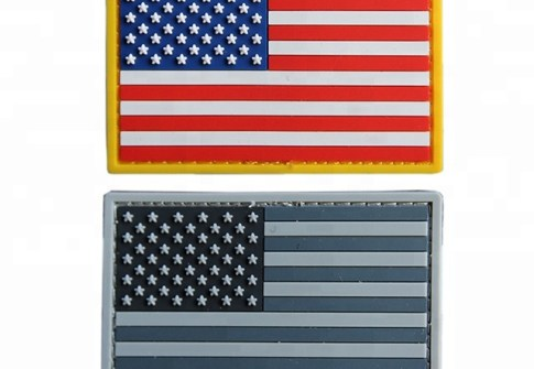 Customized Size PVC Rubber Morale Patches USA American Flag Soft Rubber PVC Label