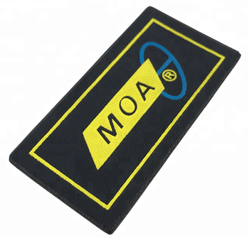 Custom professional design printed embossed logo sew on PU leather patch