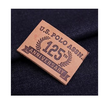 Custom personalized logo genuine jeans leather label/ leather patch for garment
