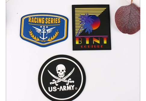 Customized garment label popular gorgeous rubber patch for clothing decoration