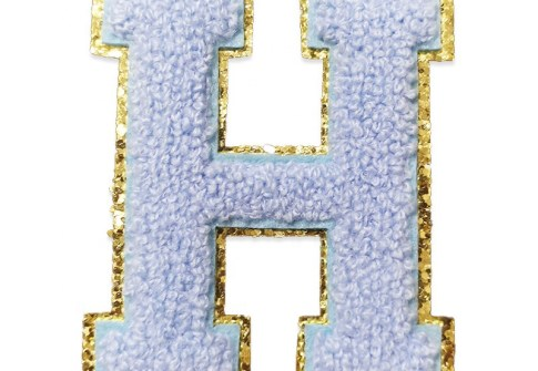 Wholesale Custom Logo Iron Sew On Chenille Letter Patches With Glitter