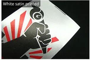 White satin printed