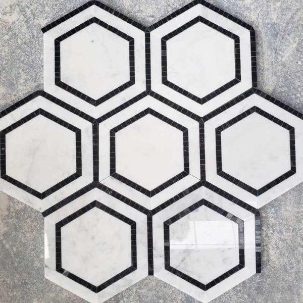 wall cladding tile hexagon black white