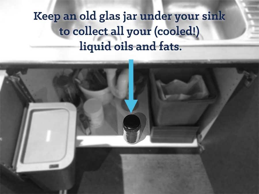 sink with old jar underneath