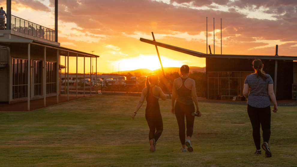 BHP South Flank landing sunset
