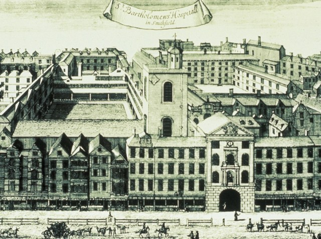 Drawing of St Bartholomew's hospital in Smithfield