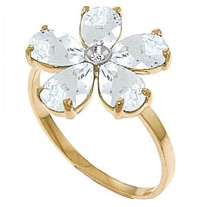 Aquamarine and Diamond Five Petal Ring 2.2ctw in 9ct Gold