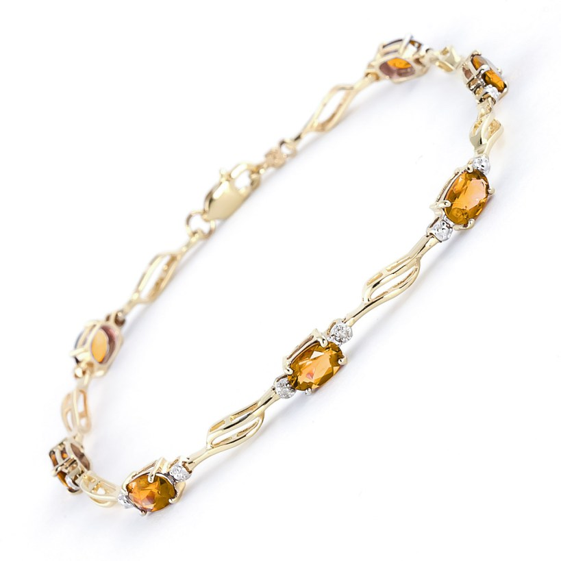 Citrine and Diamond Classic Tennis Bracelet 3.38ctw in 9ct Gold
