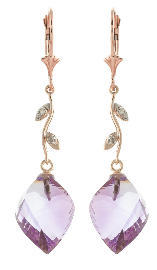 Amethyst and Diamond Drop Earrings 21.5ctw in 9ct Rose Gold