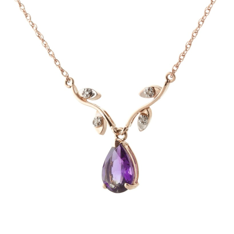Amethyst and Diamond Vine Branch Pendant Necklace 1.5ct in 9ct Rose Gold