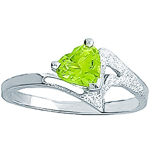 Sterling Silver 0.60ct Peridot Heart Ring