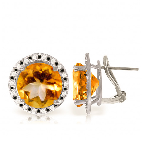Citrine and Diamond Stud French Clip Halo Earrings 12.0ctw in 9ct White Gold