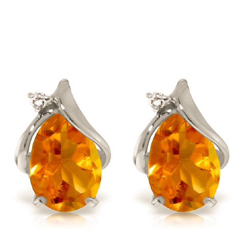 Citrine and Diamond Stud Earrings 3.2ctw in 9ct White Gold