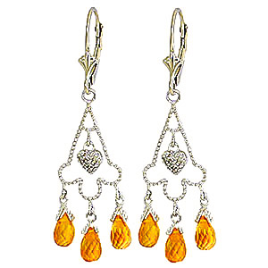 Citrine and Diamond Trilogy Drop Earrings 4.2ctw in 9ct White Gold