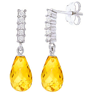Citrine and Diamond Stem Droplet Earrings 4.5ctw in 9ct White Gold