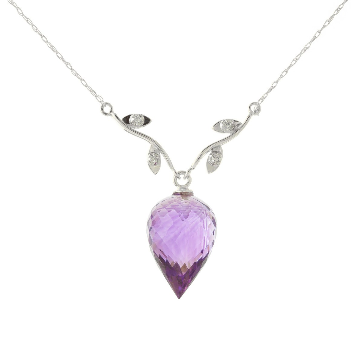 Amethyst and Diamond Pendant Necklace 9.5ct in 9ct White Gold