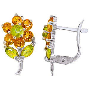 Citrine and Peridot Flower Petal Stud Earrings 2.12ctw in 9ct White Gold