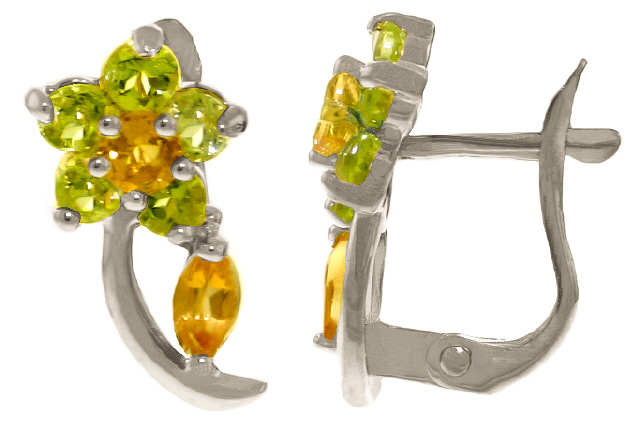 Citrine and Peridot Flower Stud Earrings 1.72ctw in 9ct White Gold