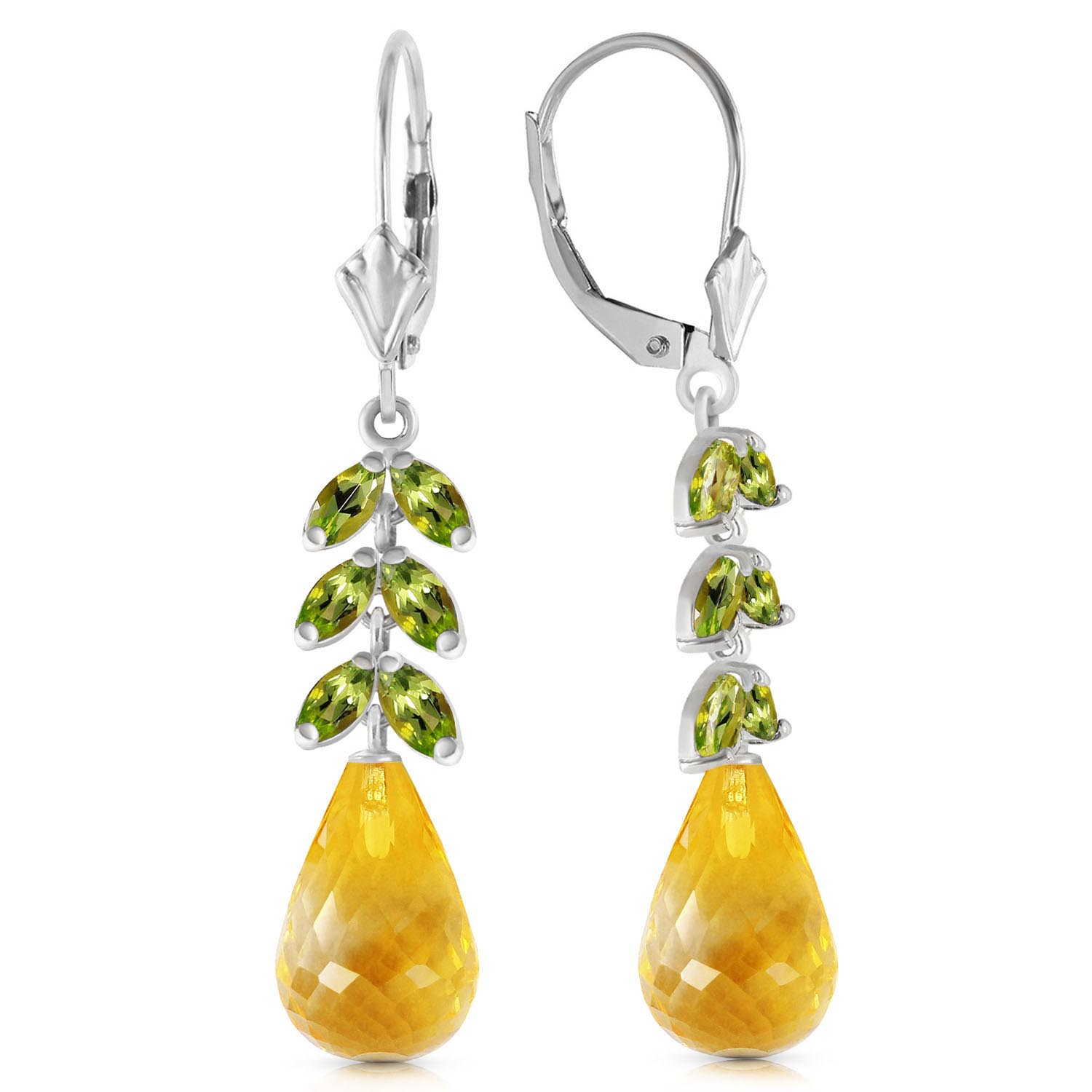 Citrine and Peridot Drop Earrings 11.2ctw in 9ct White Gold