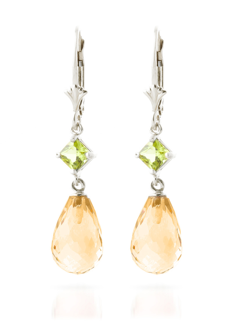 Citrine and Peridot Drop Earrings 11.0ctw in 9ct White Gold