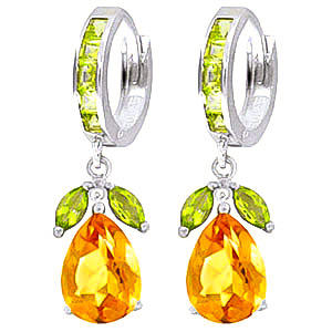 Citrine and Peridot Huggie Drop Earrings 14.3ctw in 9ct White Gold