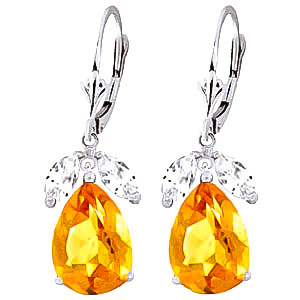 Citrine and White Topaz Drop Earrings 13.0ctw in 9ct White Gold