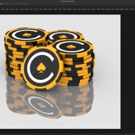 Photoshop rendered image of branded 3D casino chips