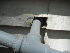 Unsealed exterior wall penetration