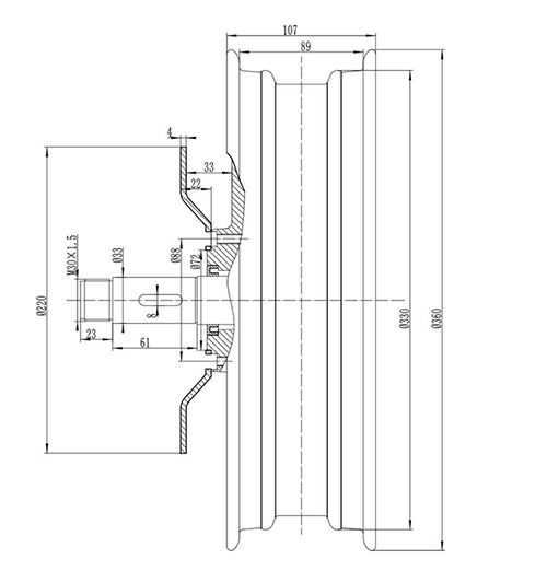 13inch e-max drawing of Single Shaft Hub Motor with Removable rim