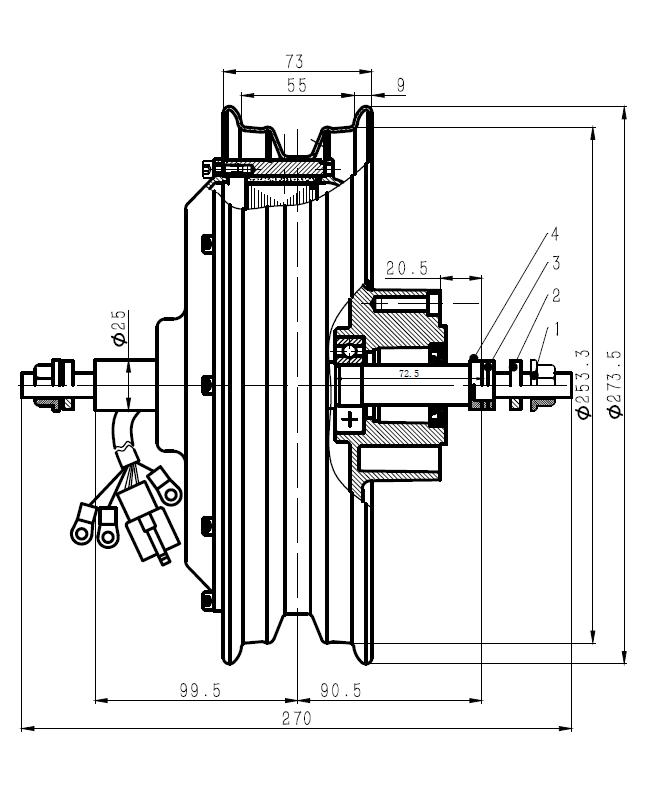10inch hub motor drawing