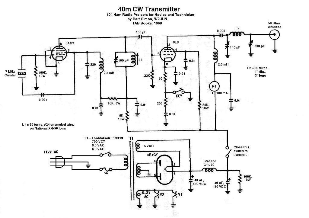 K5dh 40m 6ag7 6l6 Transmitter