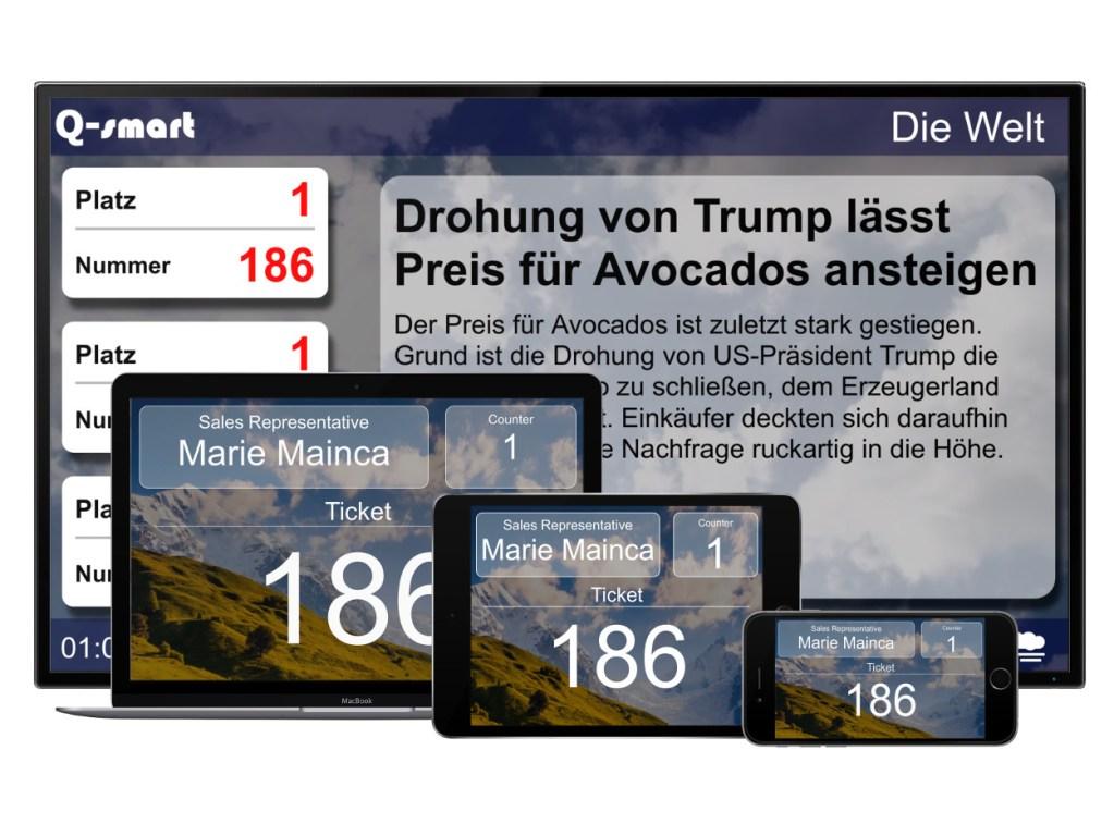 queue system customer screen tv iphone ipad responsive