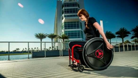 Woman using a Rowheels wheelchair