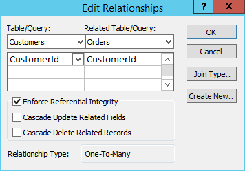 Screenshot of creating a relationship in MS Access 2013