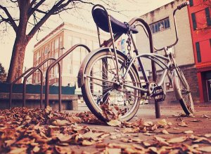 bicycle in an urban setting on a fall day