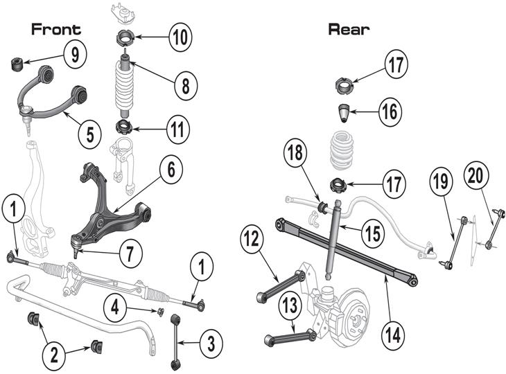 jeep grand cherokee wk suspension parts